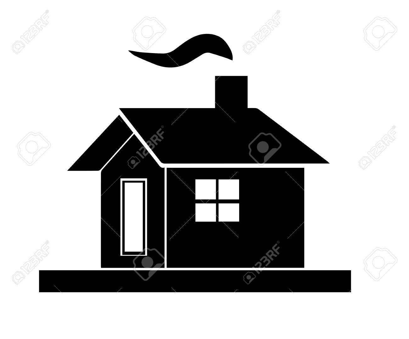 black house silhouette vector with chimney and smoke from fireplace rh 123rf com tree house silhouette vector house skyline silhouette vector