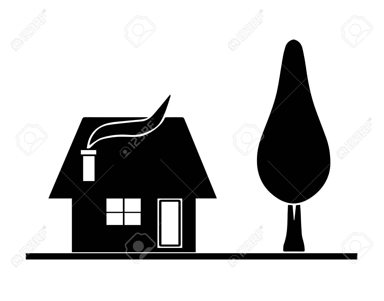 black house silhouette vector with tree garden isolated on white