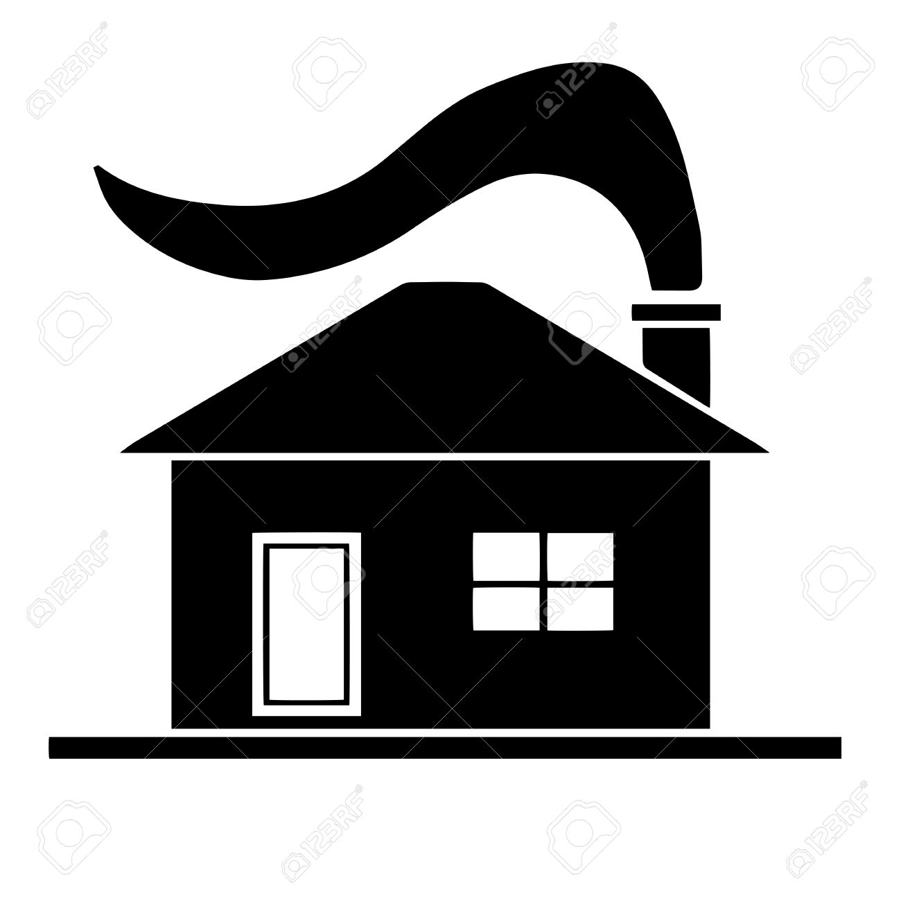 black house silhouette vector with chimney and smoke from fireplace rh 123rf com opera house silhouette vector house silhouette vector png