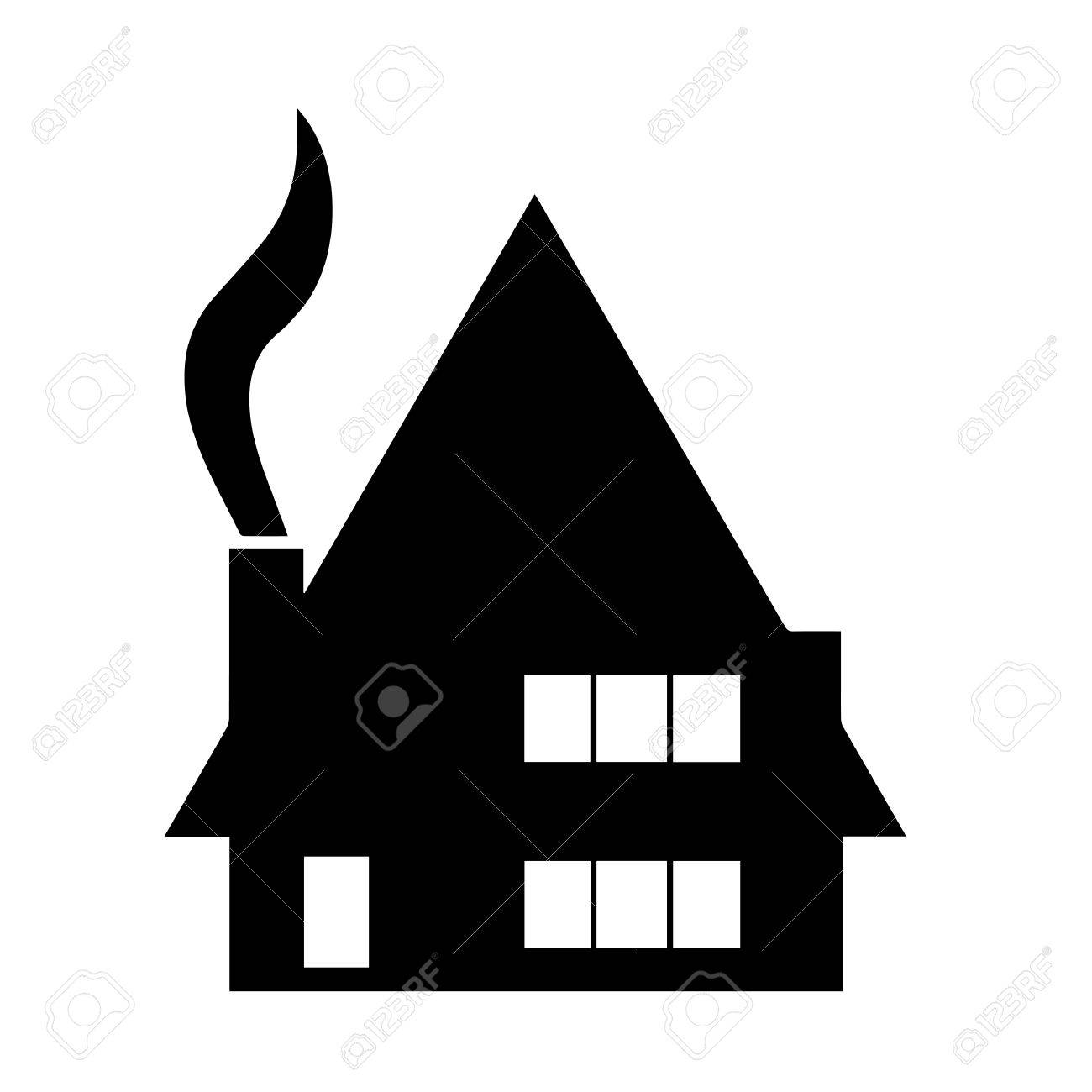 black house silhouette vector with chimney and smoke from fireplace rh 123rf com tree house silhouette vector haunted house silhouette vector