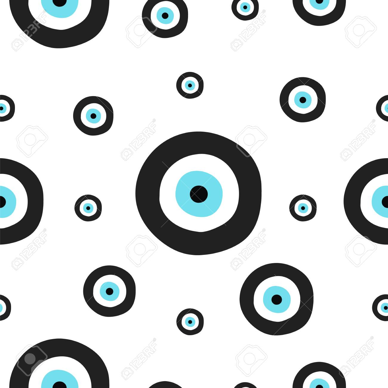 seamless tileable texture with greek evil eye in black and turquoise colors  - symbol of protection 2a1d2a278