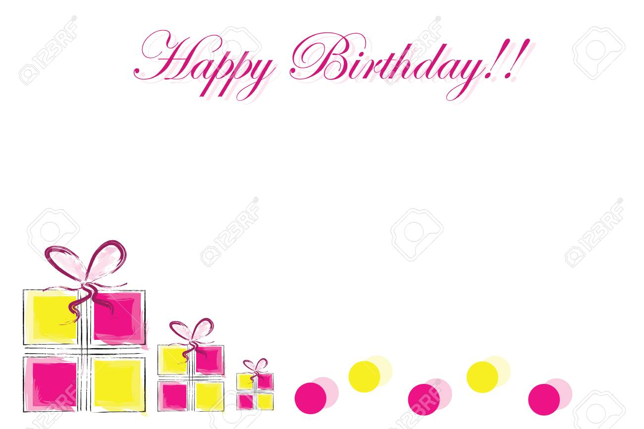 Happy Birthday Card With Gift Boxes And Polka Dots Vector