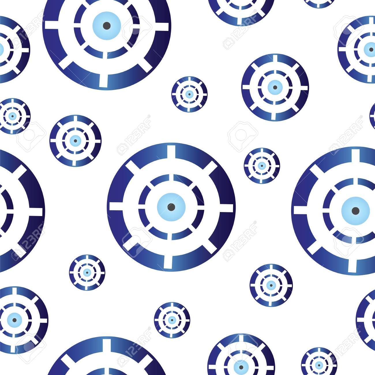 Seamless Tileable Texture With Blue Greek Evil Eye Symbol Of