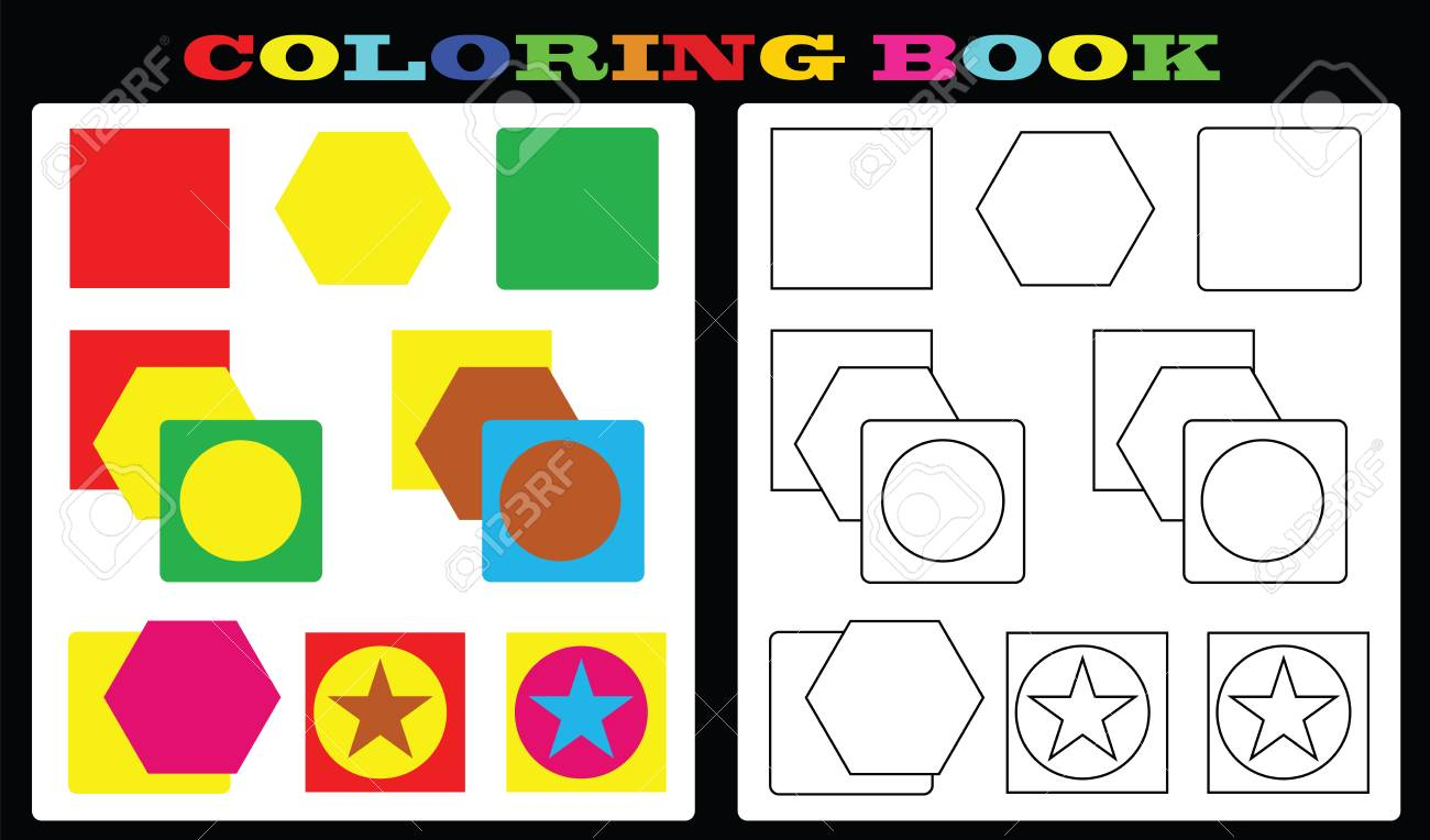 Coloring Book - Colorful Shapes And Empty Shapes For Painting For ...