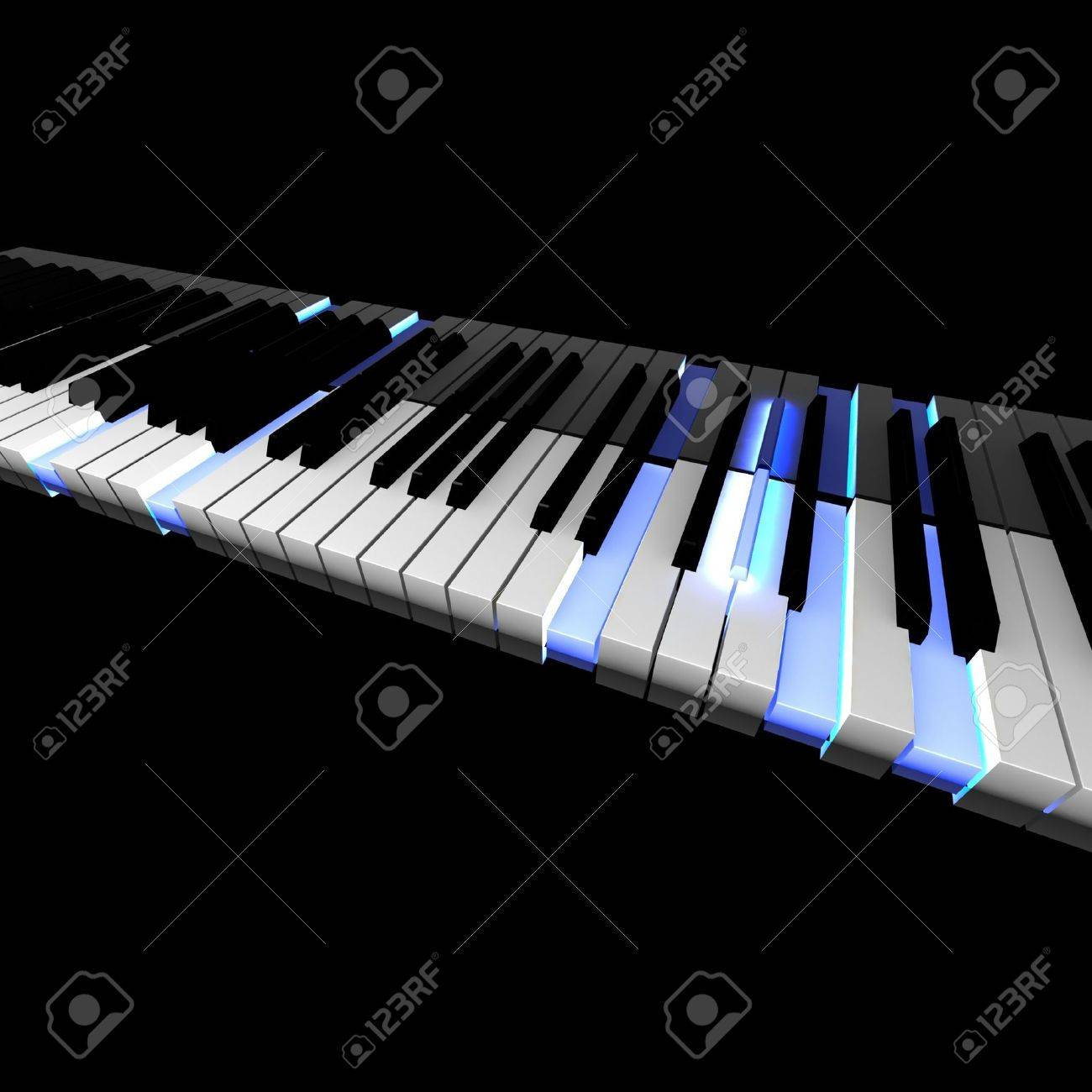 3D piano keyboard with lighting pushed keys Stock Photo - 11792241