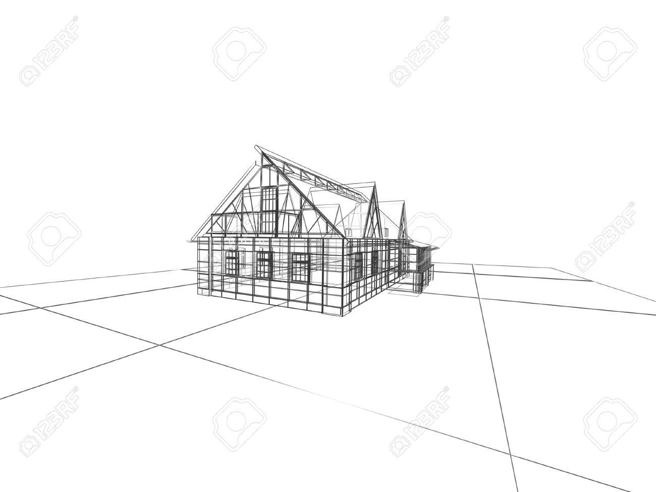 abstract modern building on white background Stock Photo - 16583901