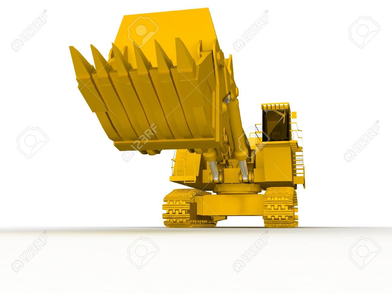 bulldozer-excavator isolated on white Stock Photo - 17124594