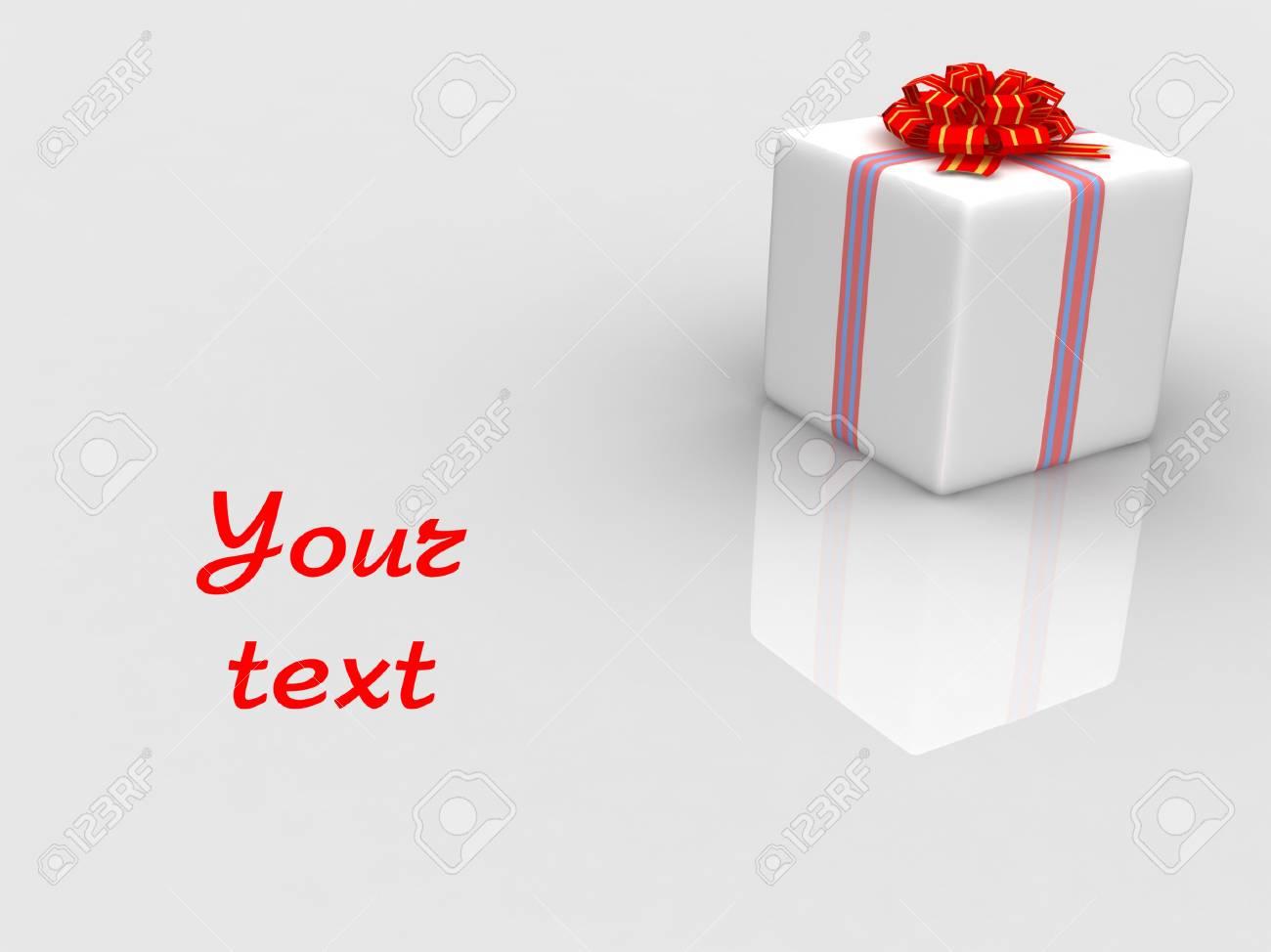 White gift isolated on white background Stock Photo - 17295950