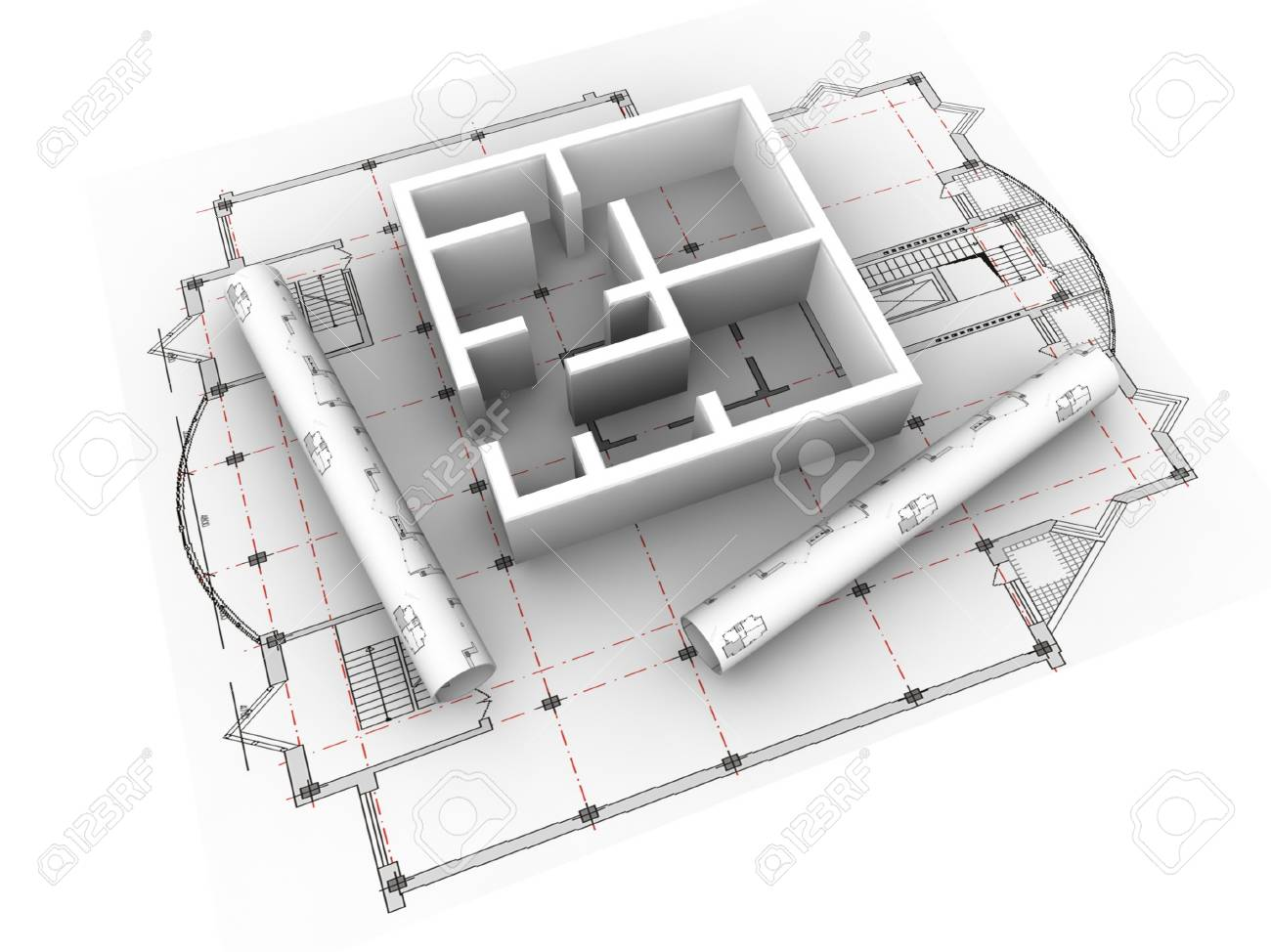 Attractive 3D Plan Drawing Stock Photo   20536009