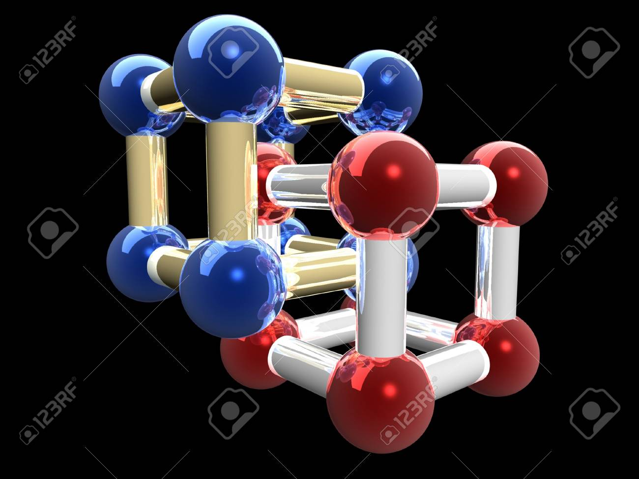 �rystalline lattice of molecule, 3D render. Stock Photo - 20568021