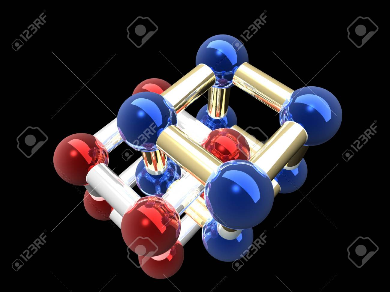 �rystalline lattice of molecule, 3D render. Stock Photo - 22091520