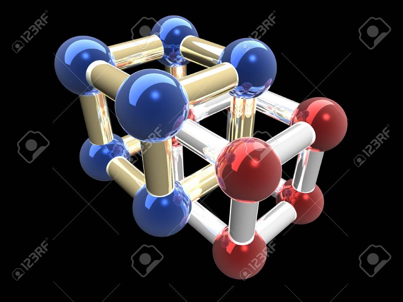 �rystalline lattice of molecule, 3D render. Stock Photo - 24888090