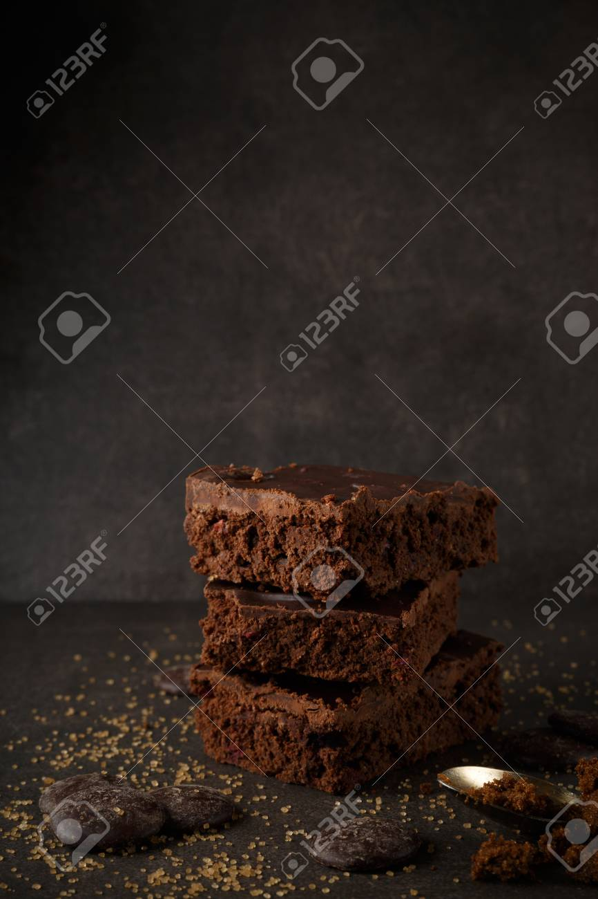 Delicious Chocolate Brownies With Dark Background Chocolate Stock Photo Picture And Royalty Free Image Image 82194541