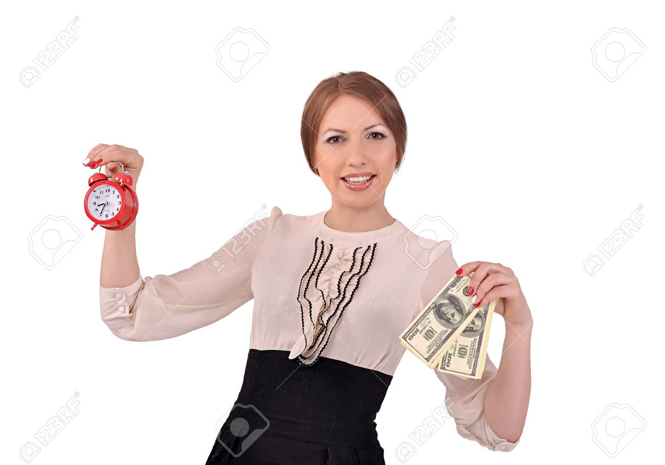 Woman with an alarm clock and money - 20312120