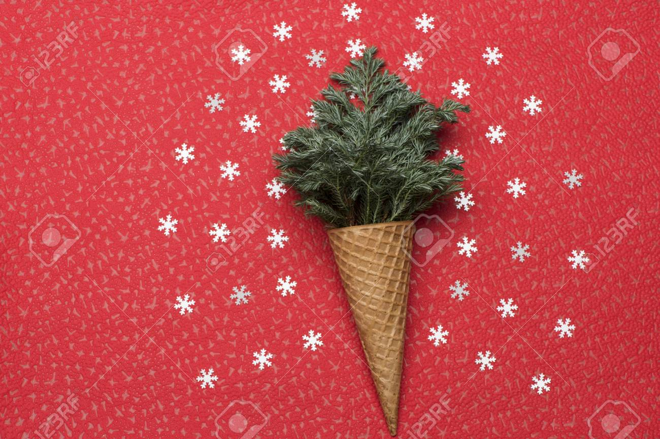 Christmas Or New Year Decorations With Ice Cream Cone Christmas Stock Photo Picture And Royalty Free Image Image 65714454