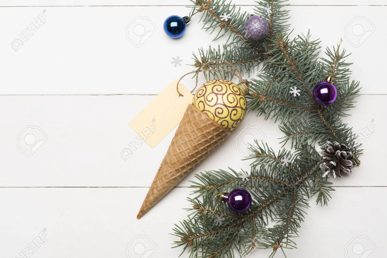 Christmas Baubles And Decorations Including Ice Cream Cone, Yellow ...