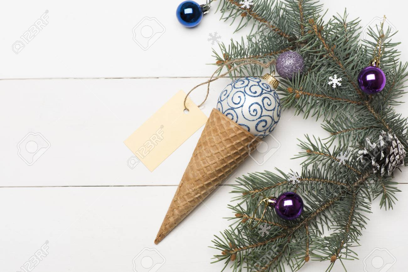 Christmas Baubles And Decorations Including Ice Cream Cone, White ...