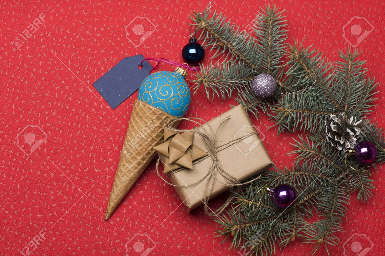Christmas Baubles And Decorations Including Gift With Golden Stock Photo Picture And Royalty Free Image Image 66004950