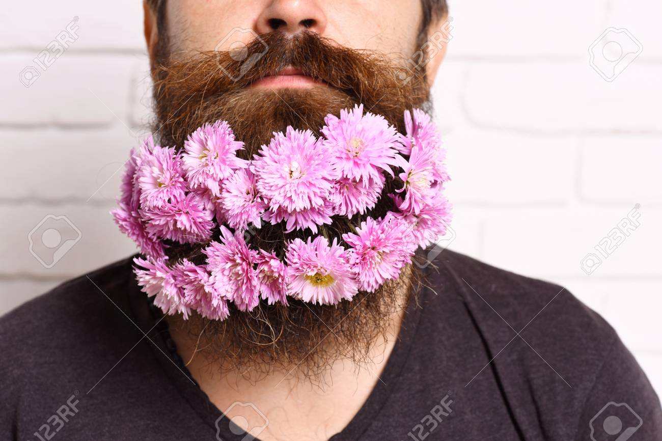 Bearded Hipster With Stylish Mustache And Shirt With Pink Autumn