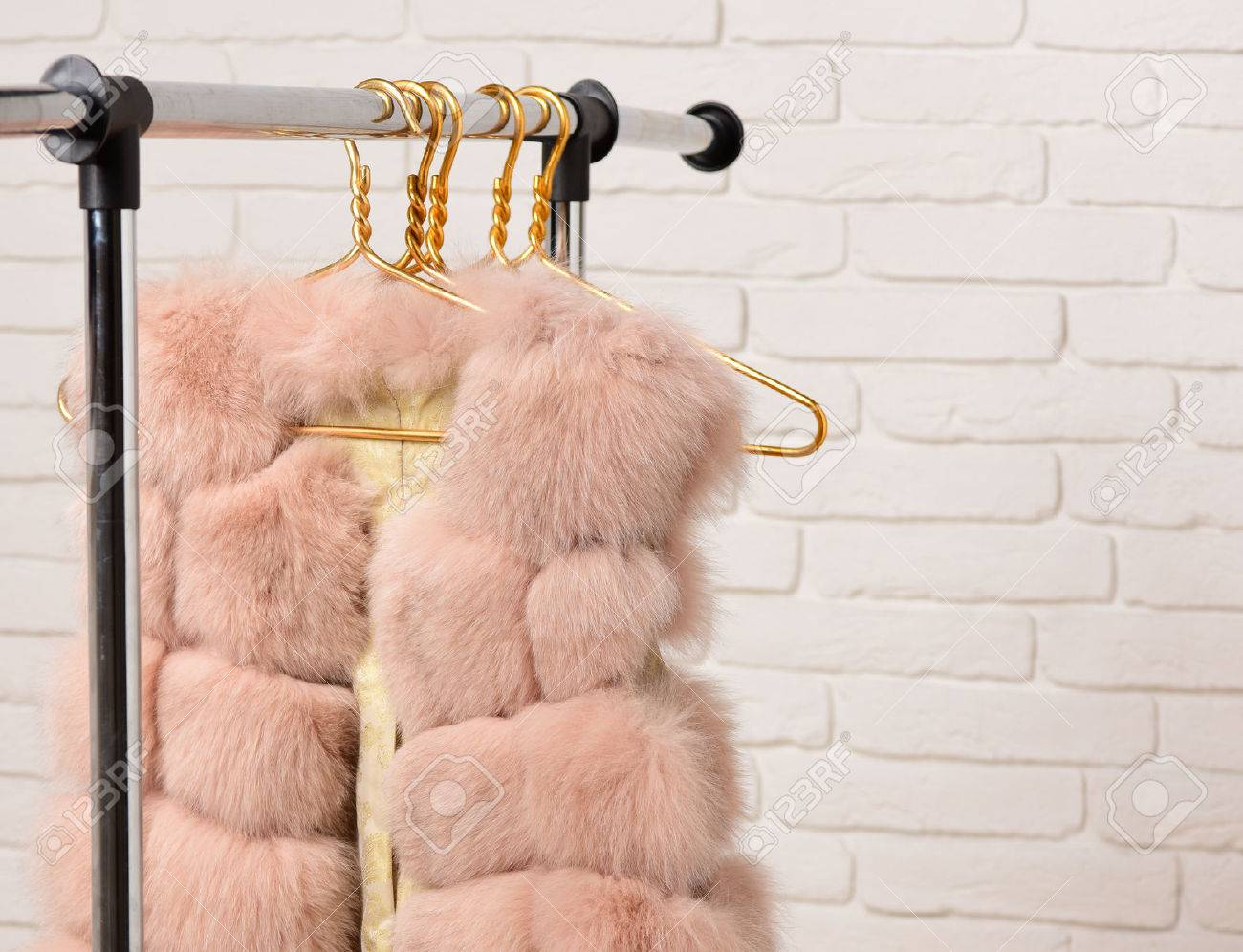 fashionable luxurious waist coat of fur hanging on rack on golden