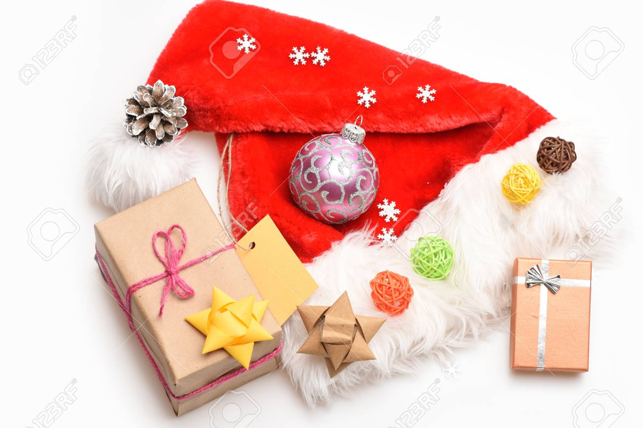 d80e35e9e53e8 Colorful Christmas Or New Year Decoration Of Gifts With Rose.. Stock ...