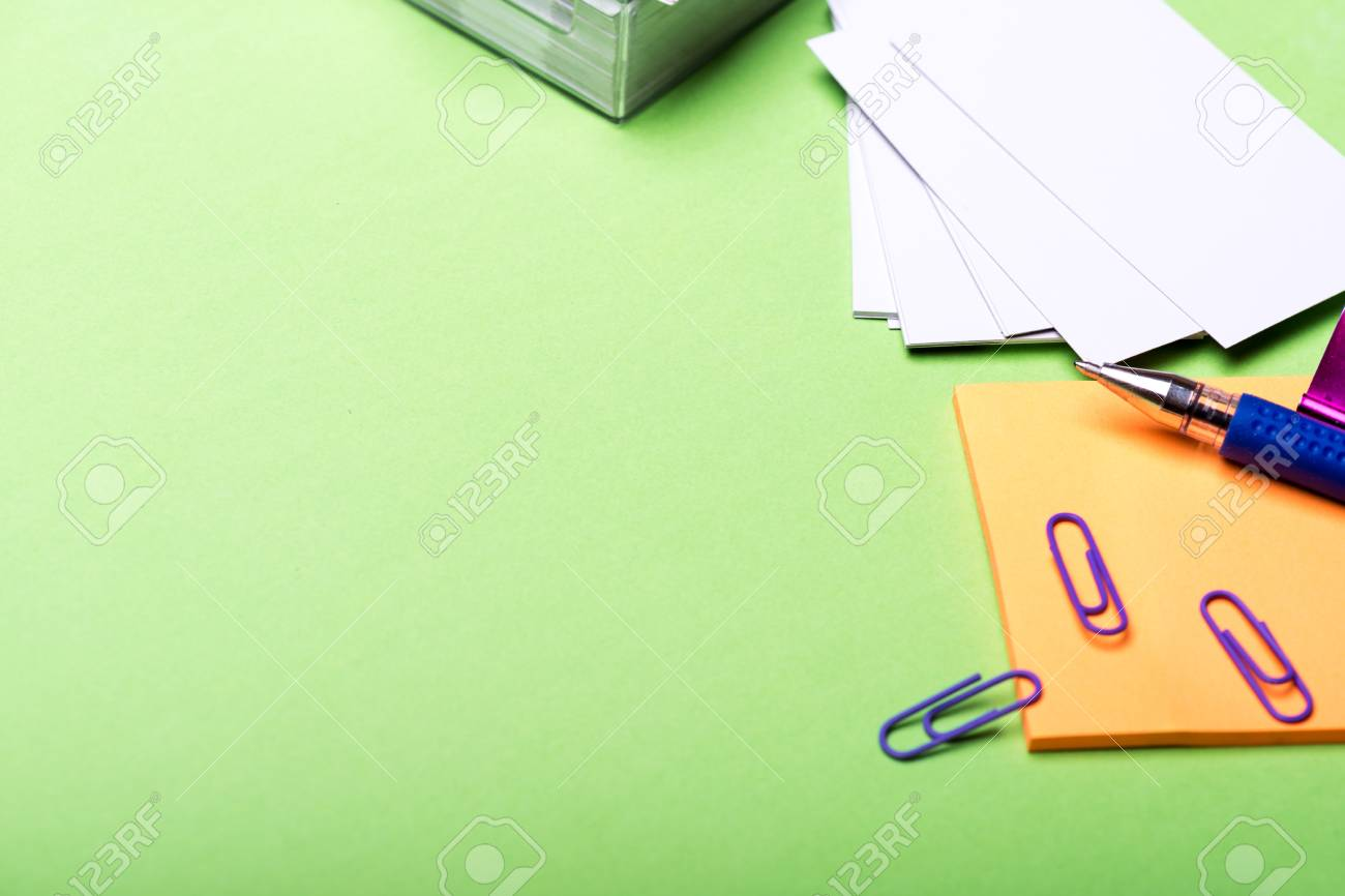 side view office set. Set Of Stationery For Office: Box With Blanks, Paper Clips, Pen, Stickers Side View Office S