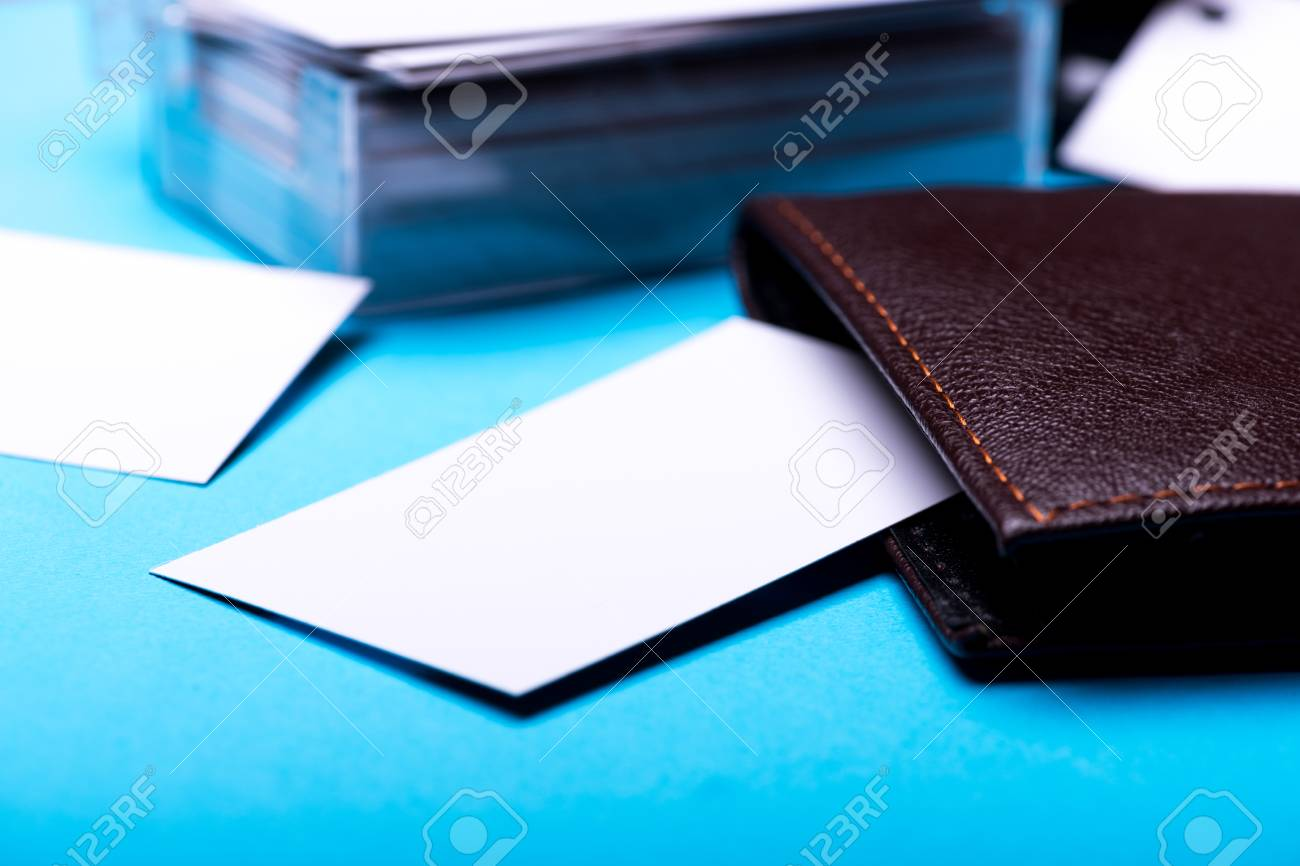 side view office set. Set Of Stationery For Office: Box With Blanks, Wallet, On Blue Background, Side View Office E
