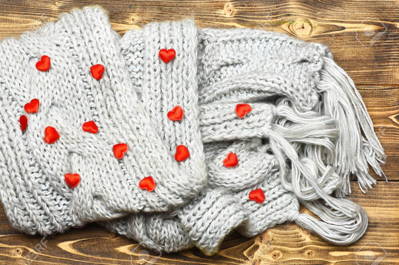 Small Cute Decoration Red Heart And Grey Knitted Fashionable.. Stock ...