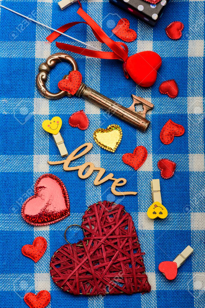 Valentines set with small decoration red heart of straw gold love valentines set with small decoration red heart of straw gold love symbol black little sweet box clothespins and metallic key on white and blue plaid buycottarizona Images