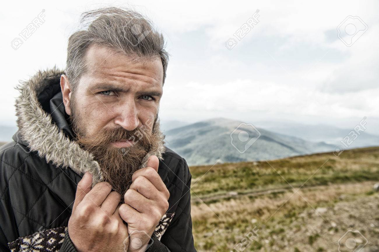 Bärtiger Mann Langer Bart Brutaler Kaukasischer Hipster Mit