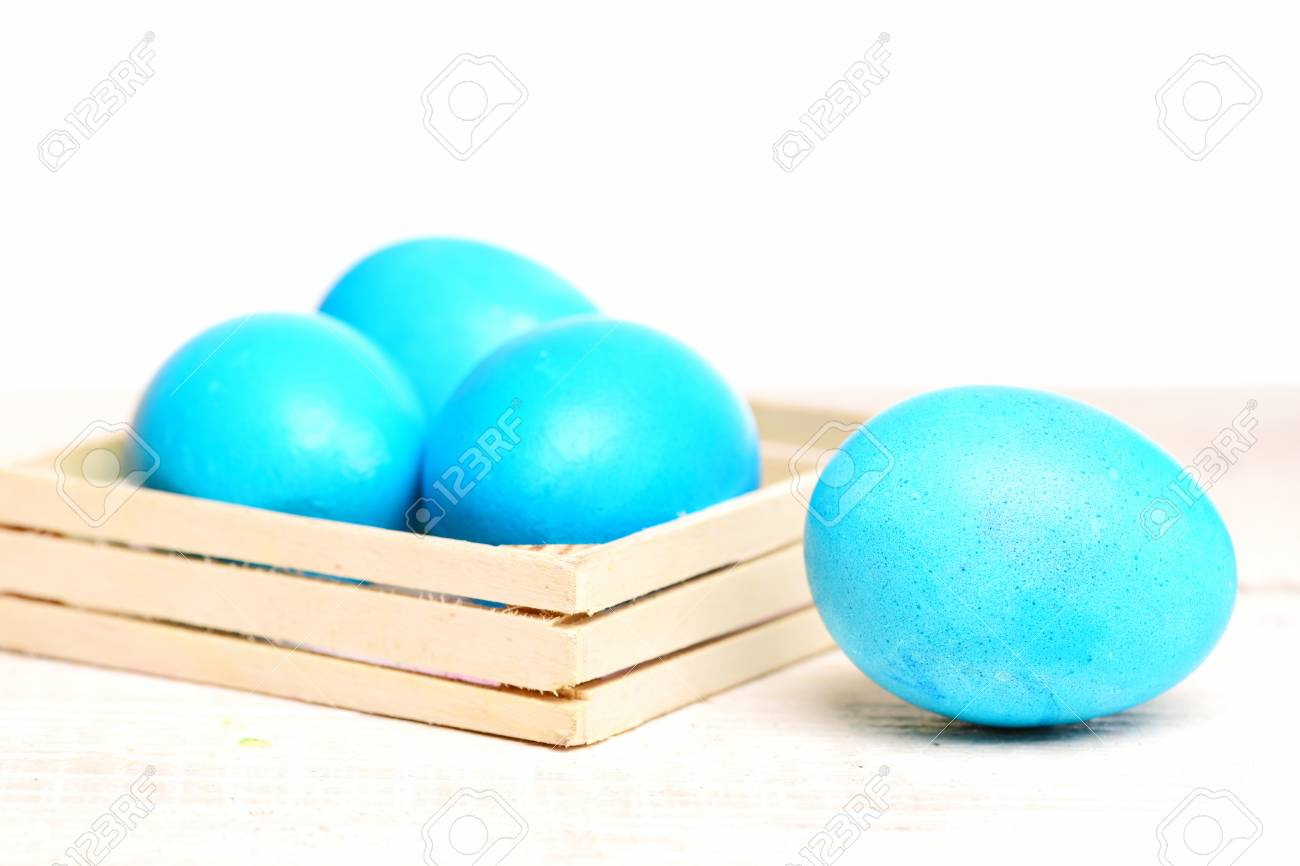 Robin egg or eggshell blue traditional easter food painted in robin egg or eggshell blue traditional easter food painted in bright color in wooden box m4hsunfo