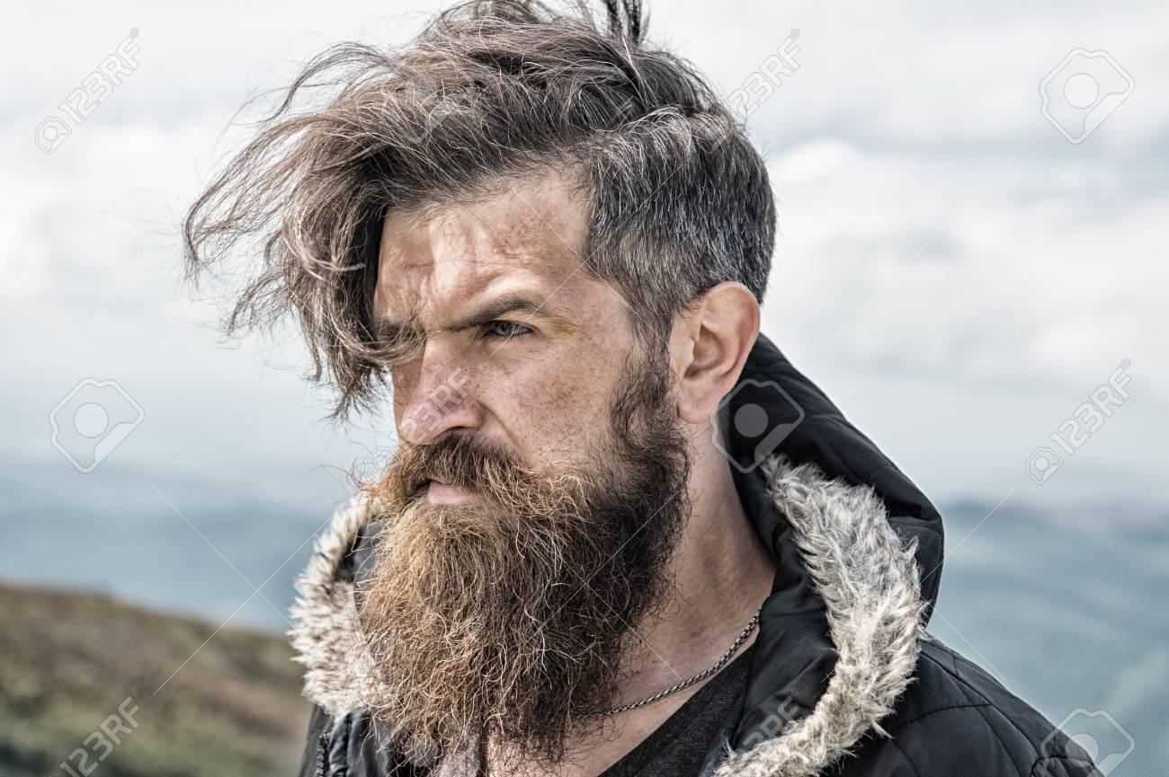 Hipster Bearded Man Long Beard Brutal Caucasian With Moustache