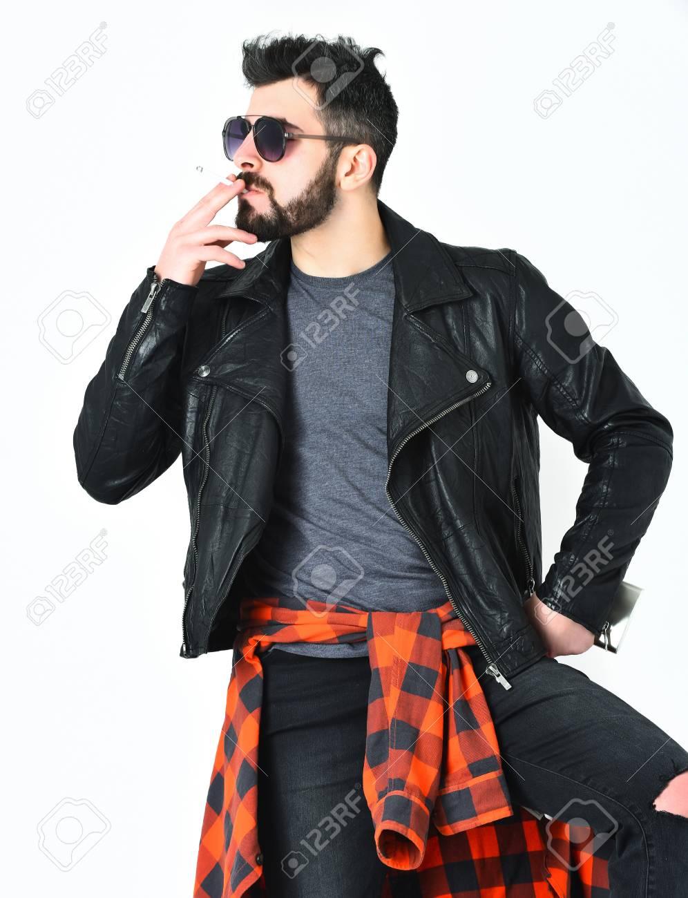 Barba Bigote Hombre Hipster Fumar Corta Barbudo Caucásicos Con ZBB1xw5qY