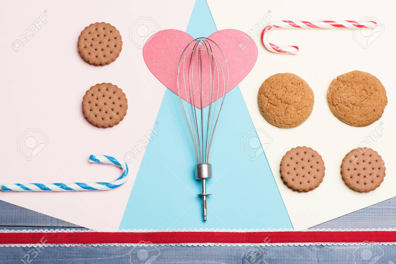Cookies And Pink Heart With Silver Kitchen Tool As Hot Air Balloon ...