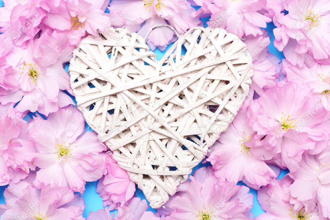 Heart In White Colour Made Of Thin Willow Threads Lying On Sakura