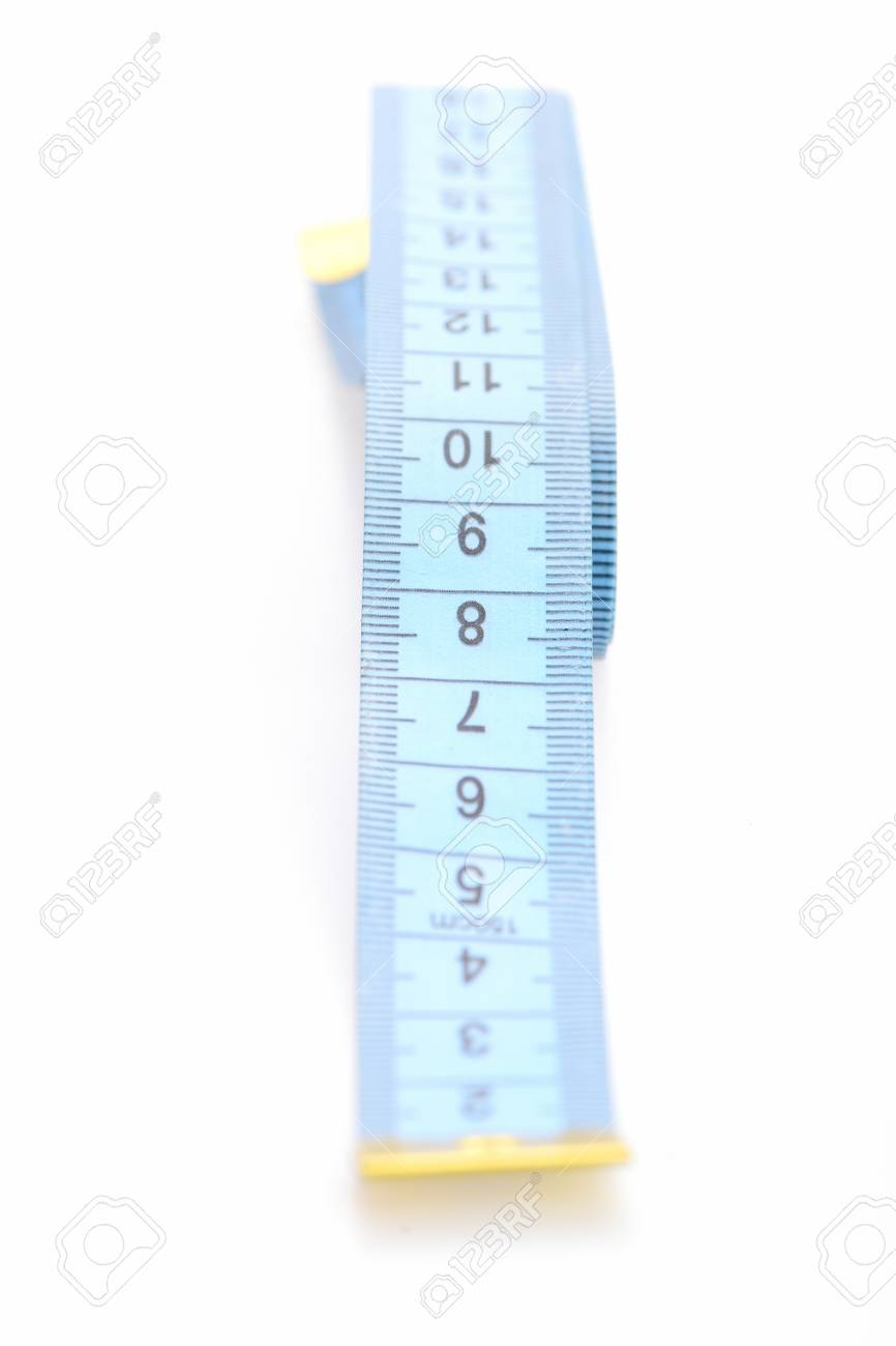 Tape For Measuring In Blue Color With Black Numbers And Metallic ...