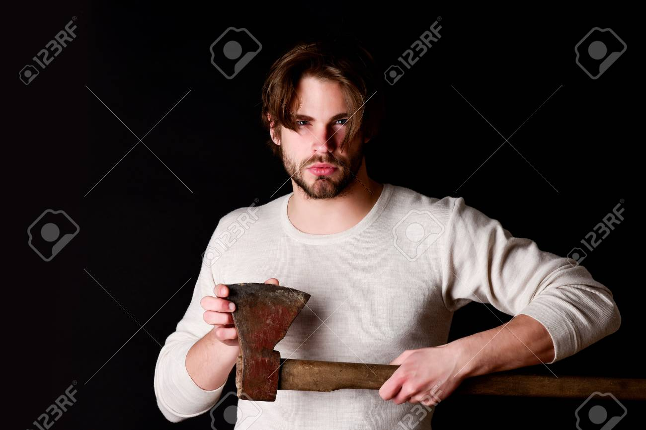 Fantastic Sharp Axe And Bearded Lumberjack With Casual Hairstyle Isolated Natural Hairstyles Runnerswayorg