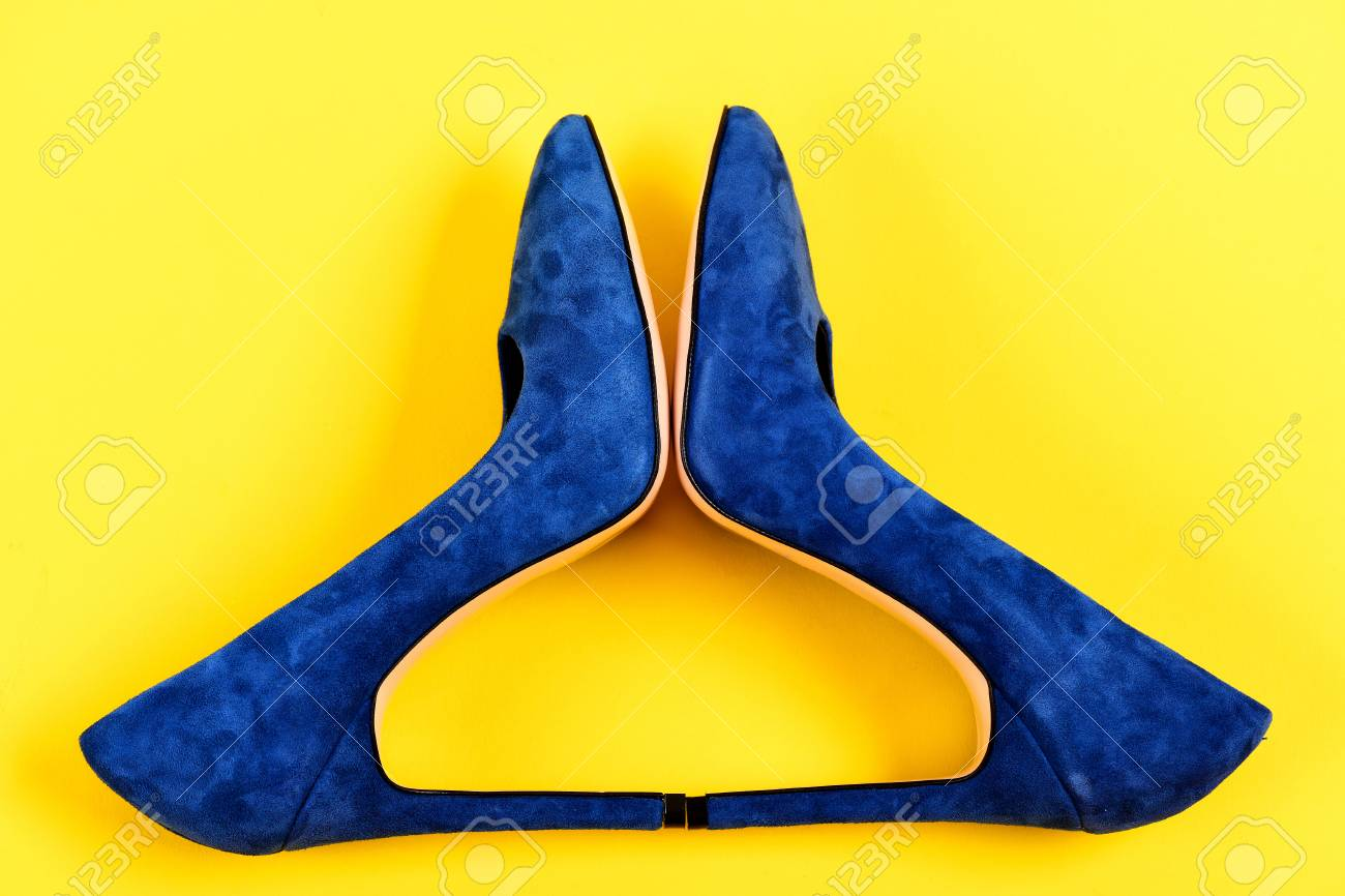 High Heel Footwear Isolated On Yellow Background Pair Of Fancy Heels Glamour Suede Female Shoes Top
