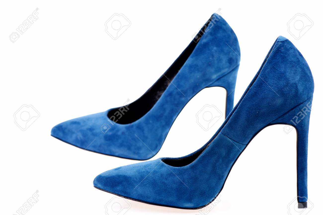 Fancy Blue Shoes Isolated On White