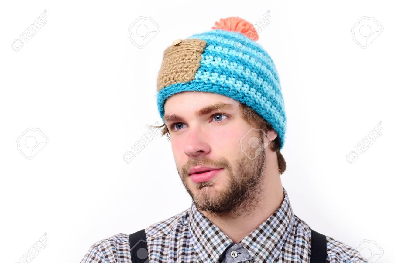 Guy Mit Lustigem Hut In Blau Beige Und Orange Farbe Winter Und