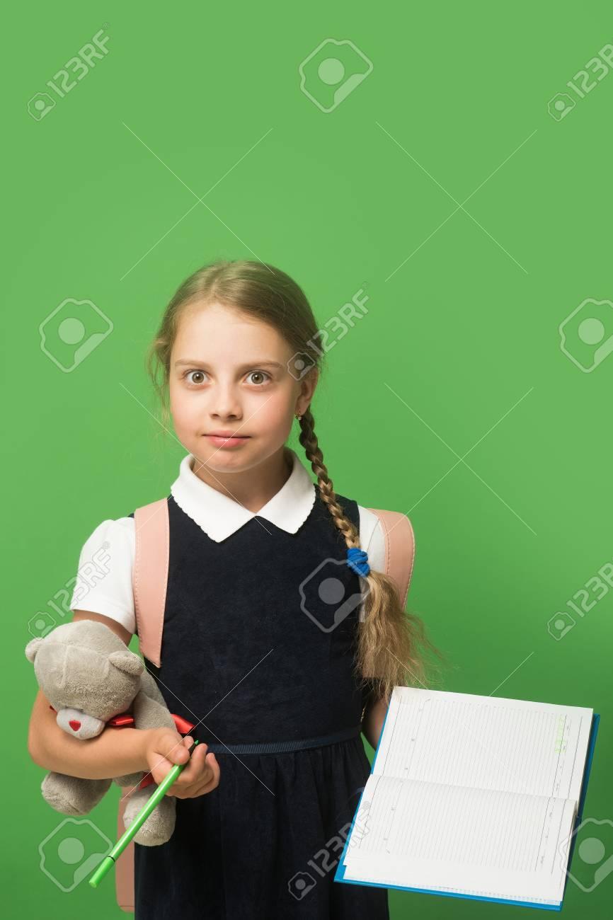 Pupil Holds Blue Book, Marker And Teddy Bear. Kid In School Uniform  Isolated On