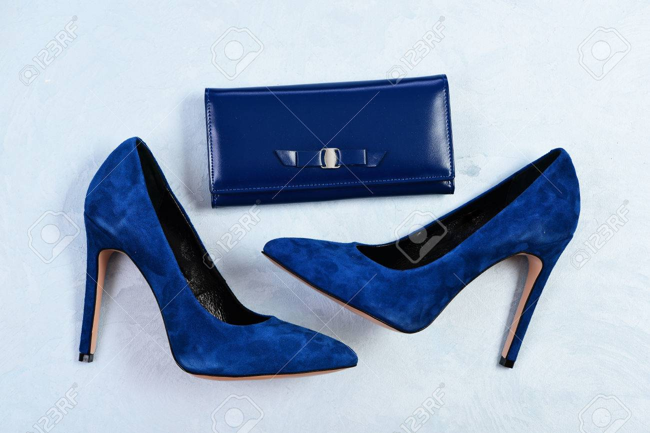 020178e8f1f Shoes and clutch in dark blue color. High heel footwear and accessories..