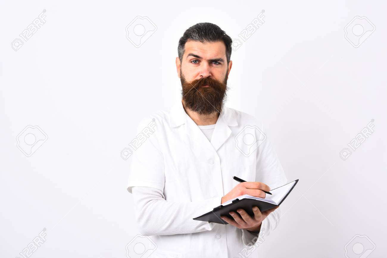 Medicine And Health Concept. Doctor With Beard In White Gown ...