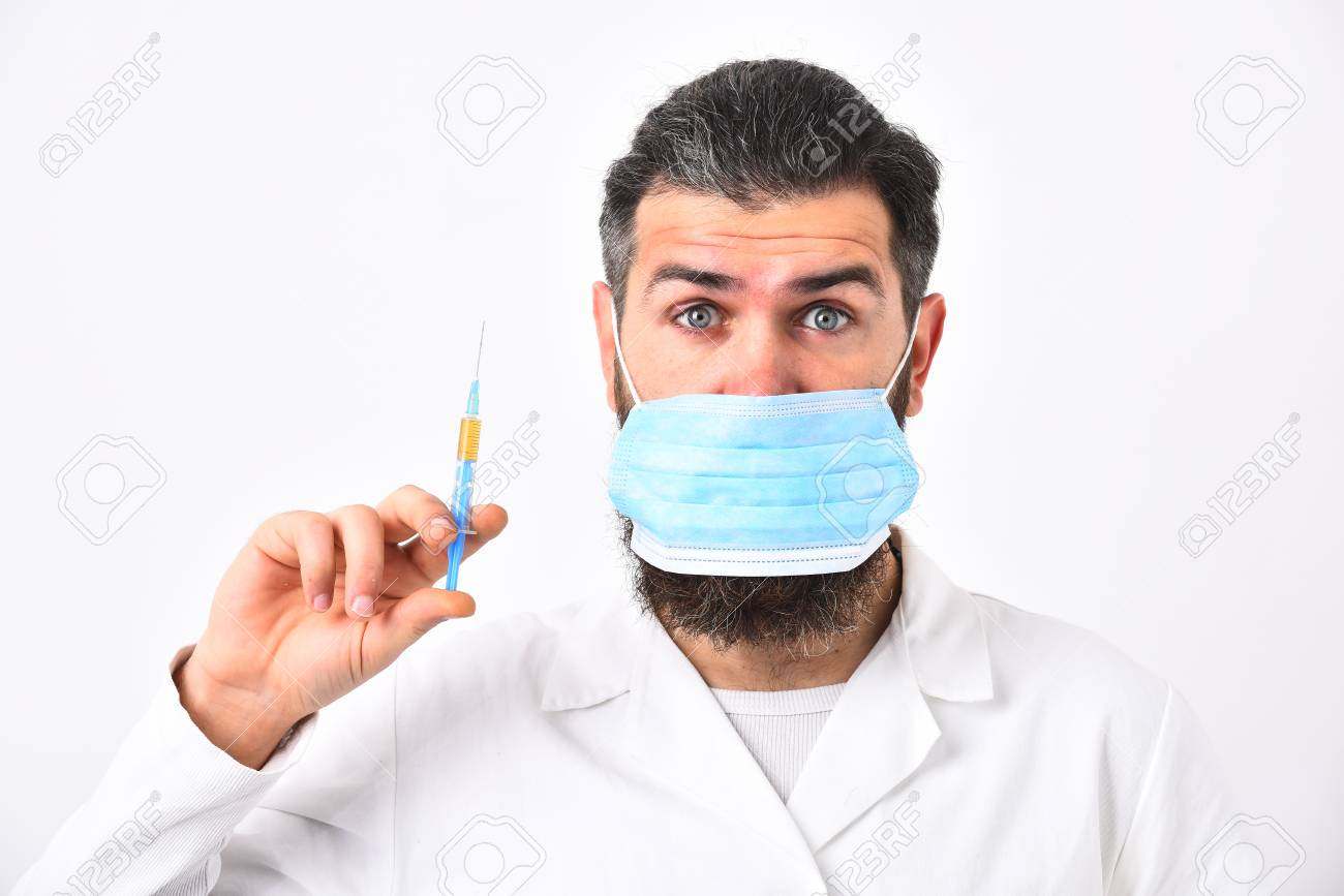 Physician With Beard Dressed In White Gown. Medicine And Health ...