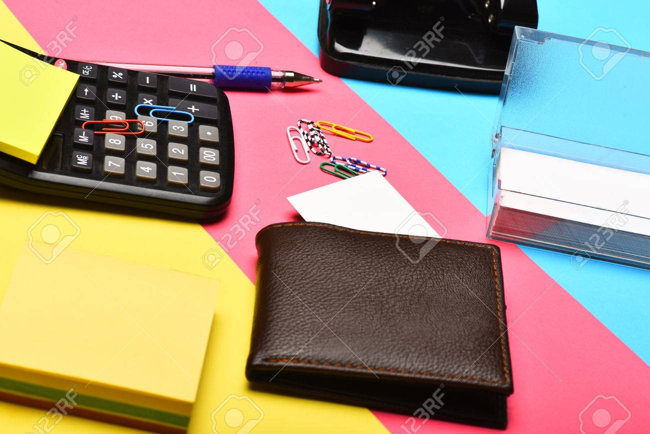 Calculator, Hole Punch, Business Card Holder, Note Paper, Pen ...