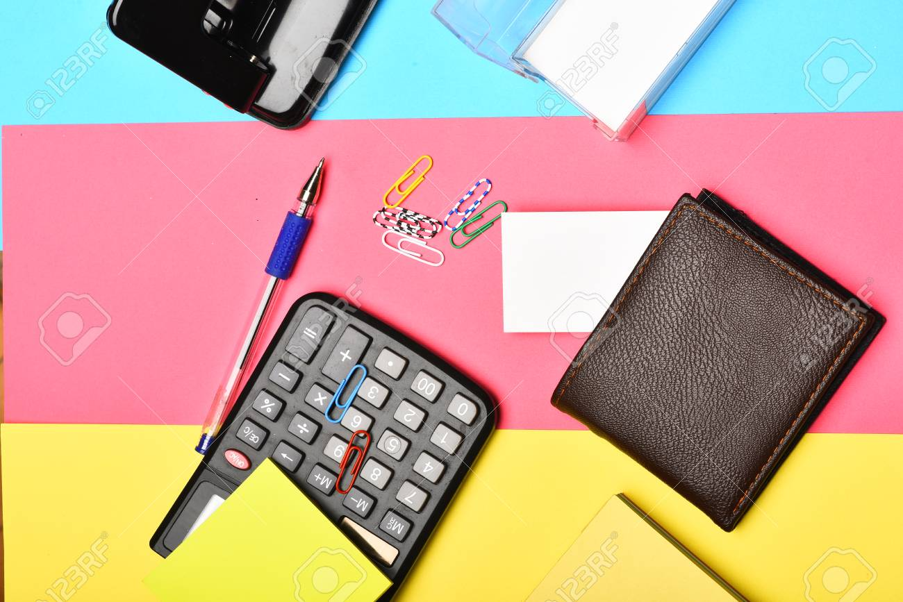 Calculator hole punch business card holder note paper pen calculator hole punch business card holder note paper pen and clips colourmoves