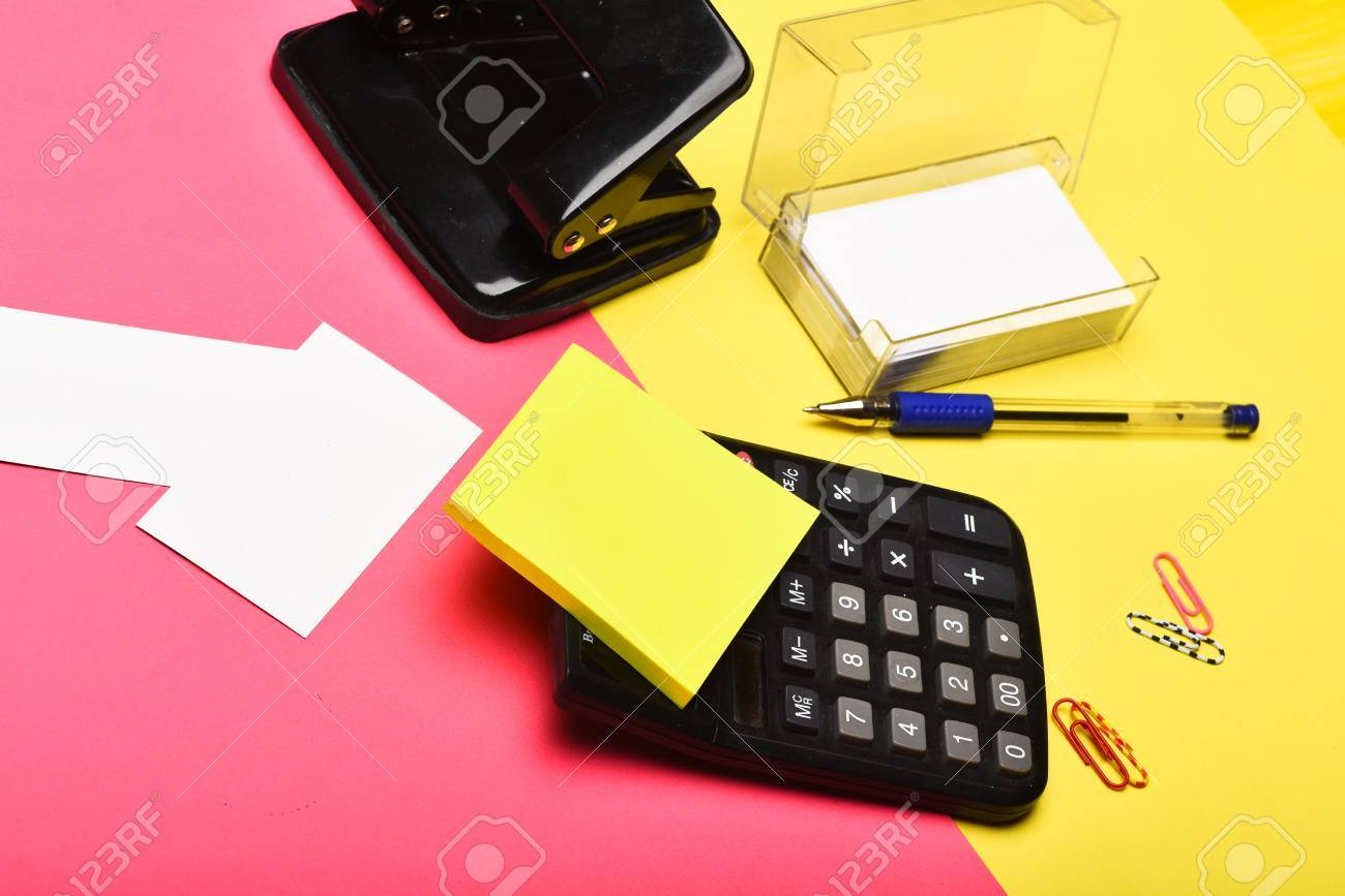 Stationery On Yellow And Pink Background, Close Up. Business.. Stock ...