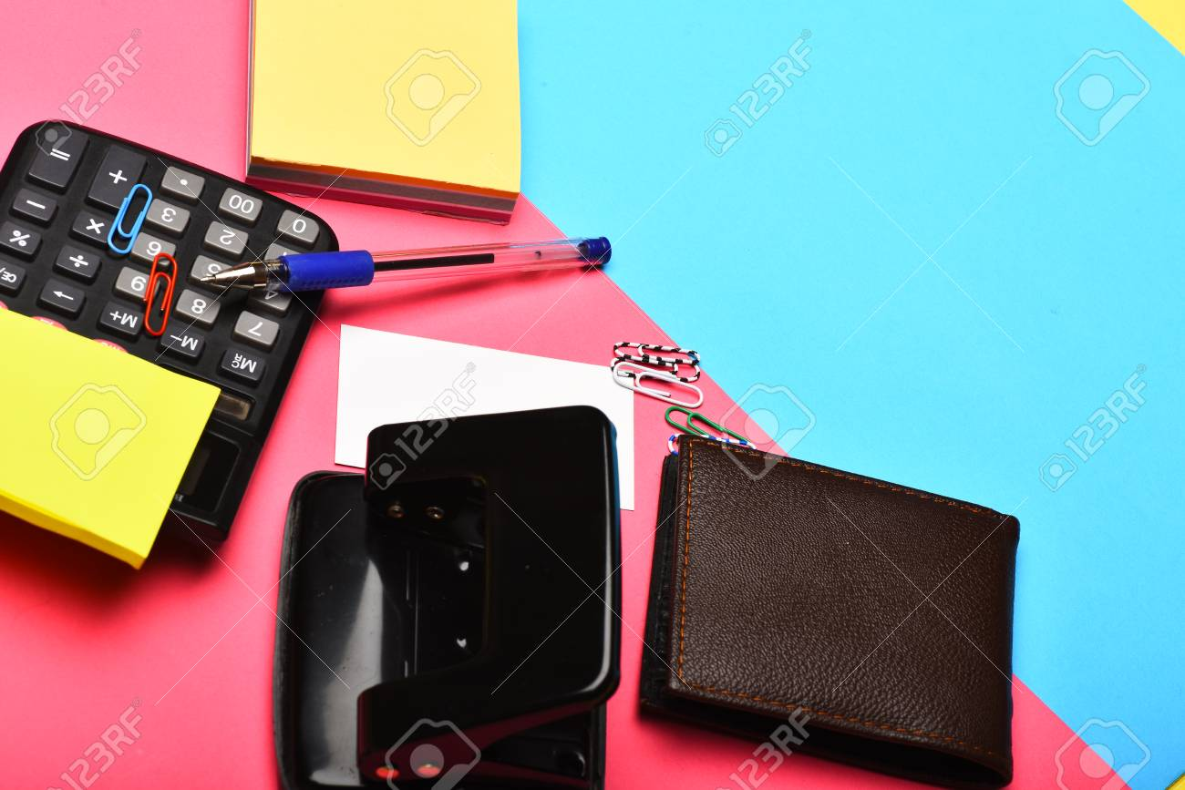 Calculator, Hole Punch, Business Card, Note Paper, Pen And Clips ...
