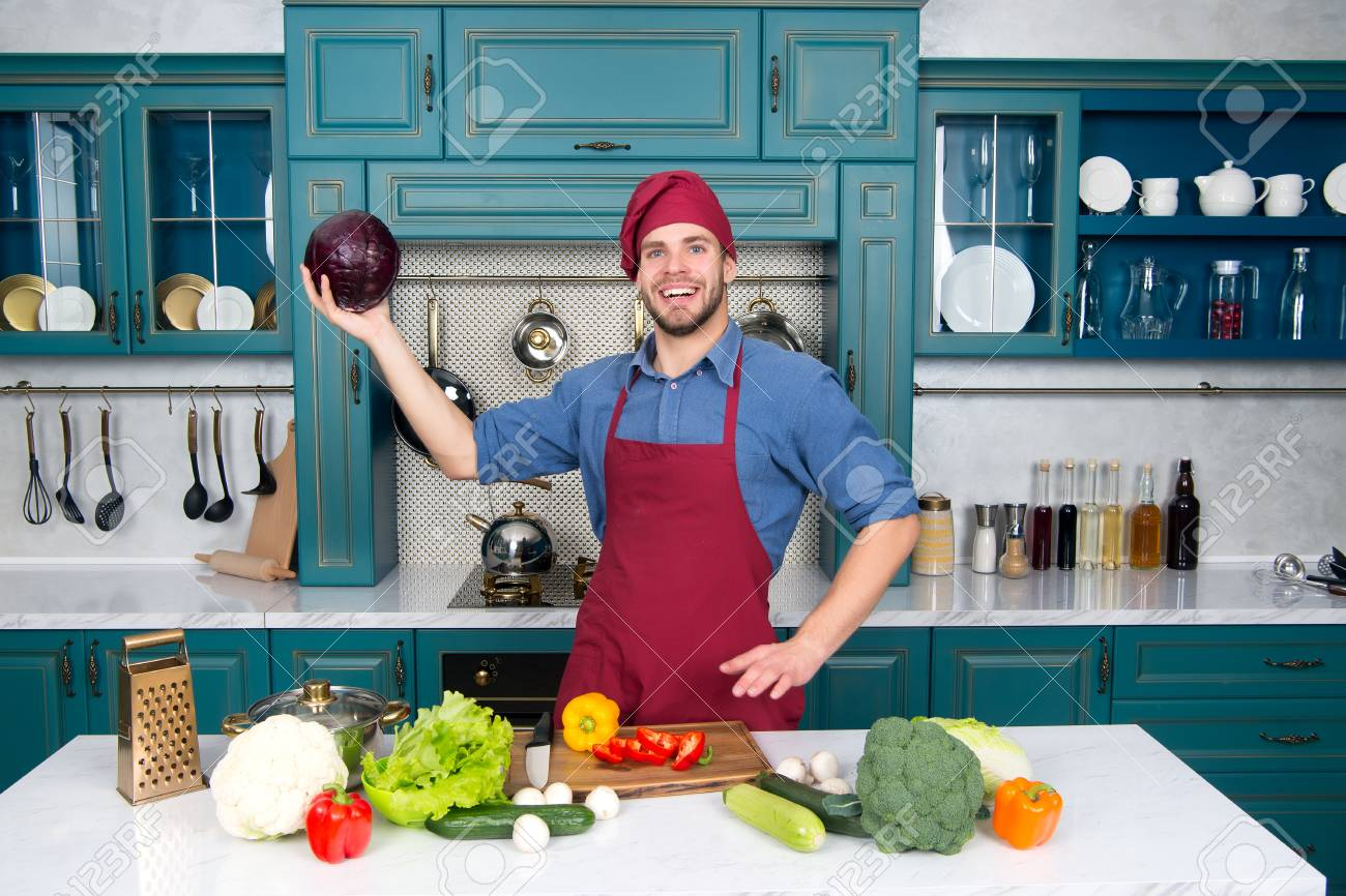 Man In Chef Hat, Apron Smile With Purple Cabbage In Kitchen... Stock ...