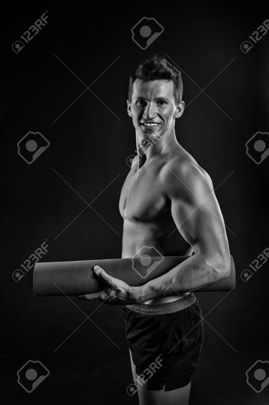 Happy Man With Muscular Arms With Biceps Sportsman Smile With